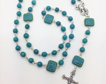 Teal Rosary, Catholic Rosary, Marriage, Religious, Gift for Her, Jewelry, Angels, Blessed Mother, Christmas Gift