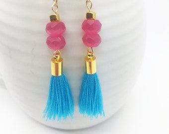 ON SALE! Fuchsia Chinese Crystals and Turquoise Tassel, Gold-Filled Dangle  Earrings, Gemstone Jewelry, Tassel Earrings