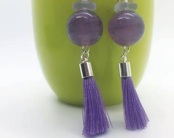 ON SALE! Purple Glass Bead, Crystal, Sea Glass with Purple Tassels, Silver-Filled Dangle  Earrings, Gemstone Jewelry, Tassel Earrings