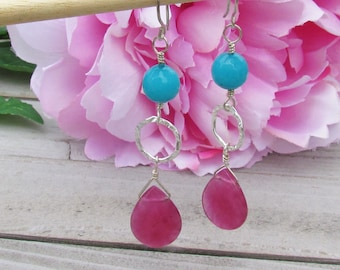 ON SALE! Silver-Filled, Turquoise and Fuchsia Dangle  Earrings, Silver Earrings, Gift for Her, Fashion Earrings