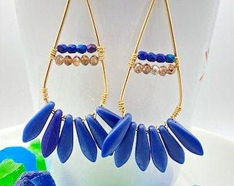 Gold and Blue Fan Earrings, Dagger Bead Earrings, Sparkly Holiday Earrings, Gift for Her