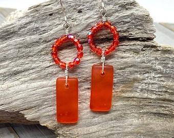 Orange and Sterling Silver Sea glass Earrings