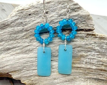 Turquoise and Sterling Silver Sea glass Earrings