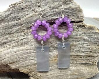 Purple and Sterling Silver Sea glass Earrings