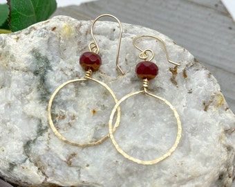 Red and Gold Apple Jasper Rondelles with Gold Wire-wrapped, Hammered Hoops