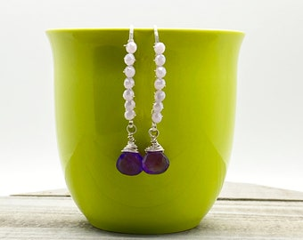Amethyst Briolette and Chinese Crystal Threader Earrings, Dangle Earrings, Silver Earrings