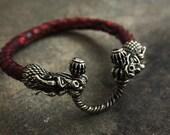 bracelet Dragon's Heart bracelet handmade viking bronze leather gift Python's leather snake's skin Mjolnir Nordic