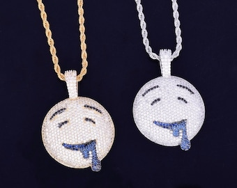1ddd7b415aa Drool Over Emoji Pendant Men s Hip hop Necklace Jewelry ( Available in  White and Yellow)