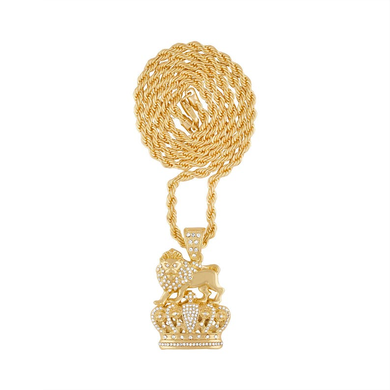 fc07e9c0dce1e Iced Out Lion King Pendant on 24 or 30 Inch Gold Plated Rope Chain