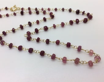 Rosario-style choker necklace with rubies, silver plated gold