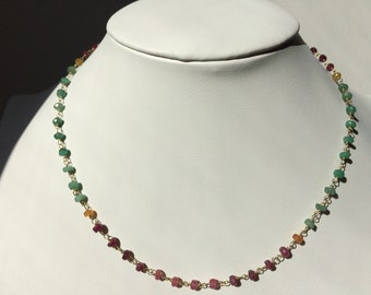 Rosario-style choker necklace with rubies, emeralds and sapphires, silver 925 gold plated
