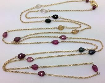 Long necklace with multicolor tourmaline, gold plated silver