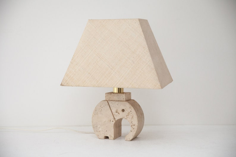 Fratelli Mannelli Travertine Elephant Table Lamp Italy around image 0