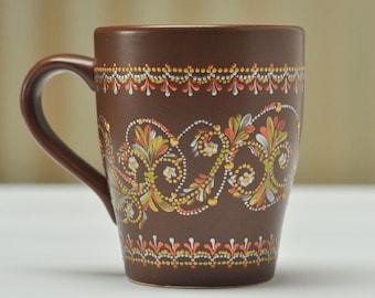 Painted coffee mug, ceramic coffee mug, coffee mug hand painted, unique tea cup, painted tea mug, hand painted mug, personalized coffee mug