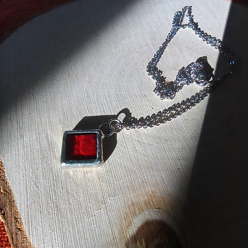 Handmade stained glass square pendant available in different color combinations and steel chain necklace