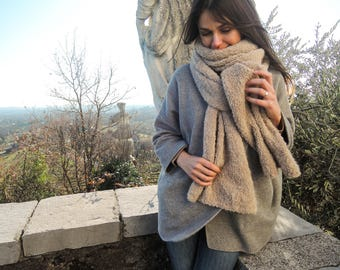 Chunky scarf, Oversized long scarf, Soft cozy long knit scarf, Wonen scarf, Knitted scarf, Handmade scarf, Beige scarf, Wrap scarf, Gift