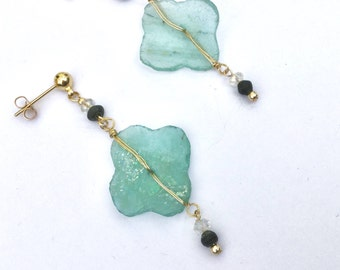 Dangle wrapped turquoise Anncient Roman Glass Earrings with gold-filled wire and gold-filled butterfly closure