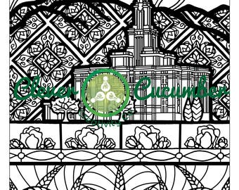 Lds Mormon Latter Day Saint Church Temple Adult Coloring Page Etsy
