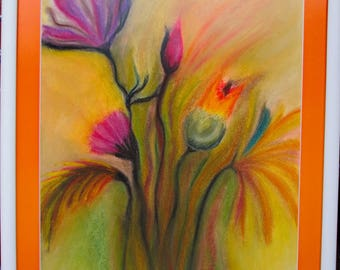 Flowers, passepartout with a frame