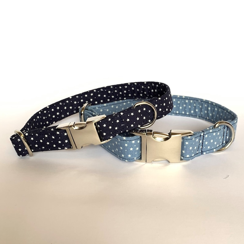 Dusky Blue Stars Dog Collar
