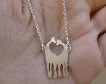 Giraffe pendant Necklace, 925 sterling silver, Giraffe lover, Animal necklace, Handmade jewelry, Minimalist jewelry, Gift for her