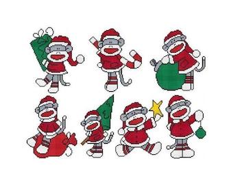 Santa Sock Monkey Combo Counted Cross Stitch PDF Pattern