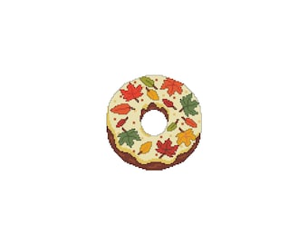 November, DONUTS, A Year Of, Fall, Leaves, A Year Of Donuts, Coaster, Mug Rug, Counted Cross Stitch, Cross Stitch Wonders, Digital,Download