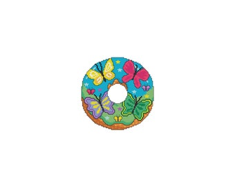 April, DONUTS,A Year Of, A Year Of Donuts,Butterflies, Beautiful,Monthly,Seasonal,Counted Cross Stitch,Cross Stitch Wonders,Digital,Download