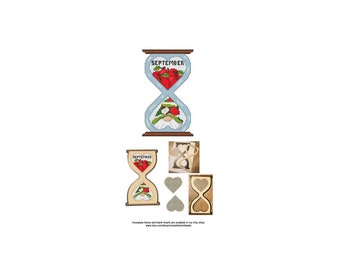 September, Gnome, Series, Hourglass, Blank, Heart, The Gnomes Of Time, Counted Cross Stitch, Digital, PDF, Pattern, Cross Stitch Wonders