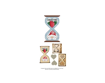Christmas, Gnome, Series, Hourglass, Blank, Heart, The Gnomes Of Time, Counted Cross Stitch, Digital, PDF, Pattern, Cross Stitch Wonders