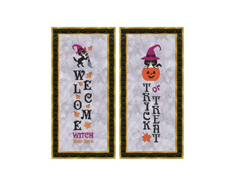 Halloween, Sign, Trick Or Treat, Welcome, Cat, Witch, Porch Sign, Leaves, Counted Cross Stitch, Digital, PDF, Pattern, Cross Stitch Wonders