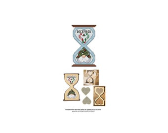 December, Gnome, Series, Hourglass, Blank, Heart, The Gnomes Of Time, Counted Cross Stitch, Digital, PDF, Pattern, Cross Stitch Wonders