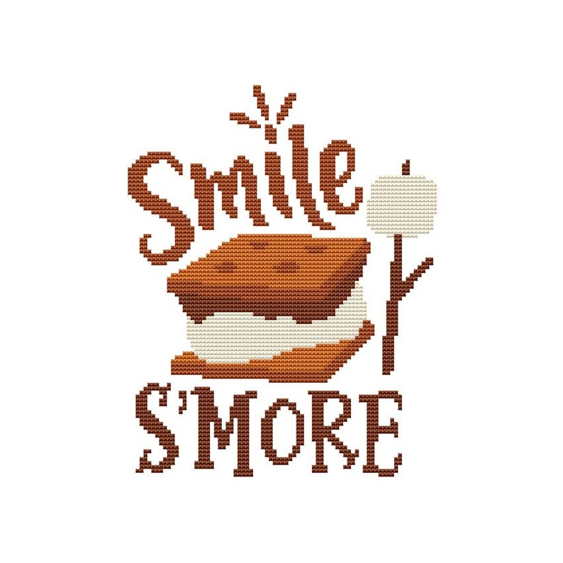 Smile S'more Counted Cross Stitch PDF Pattern image 0