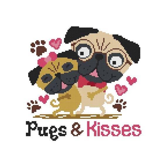 Pugs And Kisses Pug Dog Cross Stitch Chart D