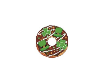 March, DONUTS, A Year Of, A Year Of Donuts, St Patricks, Clover, Shamrock, Monthly, Counted Cross Stitch, Cross Stitch Wonders, Digital, PDF