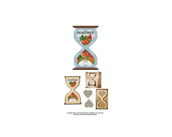 November, Gnome, Series, Hourglass, Blank, Heart, The Gnomes Of Time, Counted Cross Stitch, Digital, PDF, Pattern, Cross Stitch Wonders