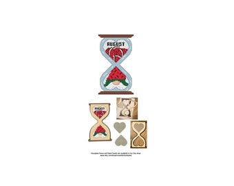August, Gnome, Series, Hourglass, Blank, Heart, The Gnomes Of Time, Cute, Counted Cross Stitch, Digital, PDF, Pattern, Cross Stitch Wonders