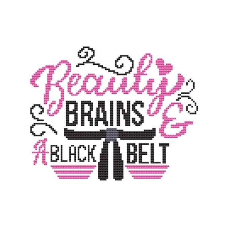 Beauty Brains & A Black Belt Counted Cross Stitch PDF Pattern image 0