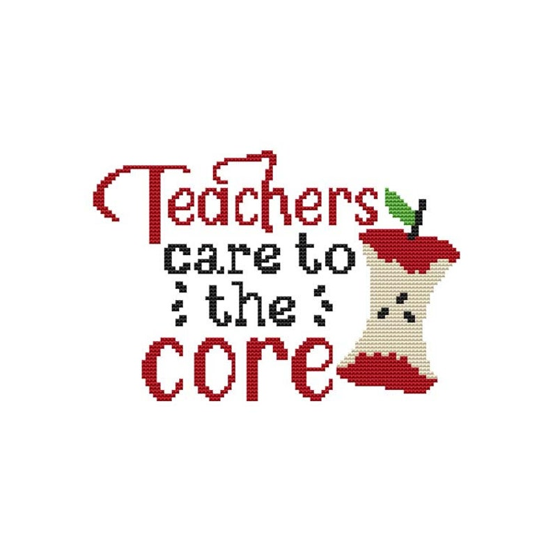 Schools Out Saying  Teachers Care To The Core  Counted Cross image 0