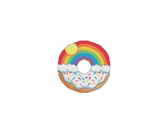 June, DONUTS, A Year Of, A Year Of Donuts, Sun, Rainbow, Sprinkles, Summer, Monthly, Counted Cross Stitch, Cross Stitch Wonders, Digital PDF