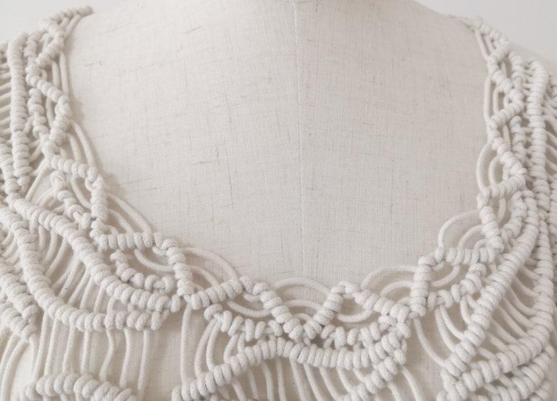 Hippie Beach wedding Boho Chic Macram\u00e9 dress- Long Fringe Sleeveless Burning Man Bridal Festival fashion