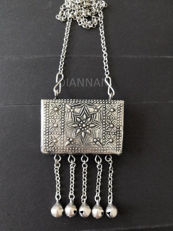 Circle design,Miao Silver Tribal Necklace Purse Necklace,Vintage Hmong Silver Boho,good luck,Hmong Jewelry