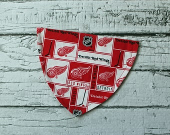 Detroit Red Wings Red & White with black over the collar dog bandana.