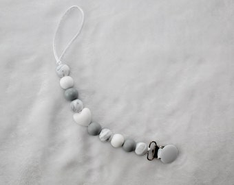 Marble Heart Patterned Pacifier Clip