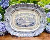 Antique Ralph Stevenson Son quot Cologne quot Transferware Platter Staffordshire England Earthenware Plate Mid 19th Century Castle River Scenery