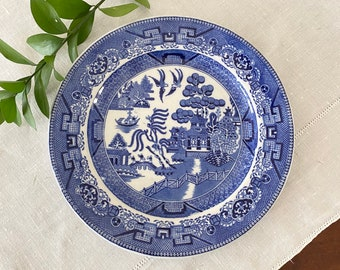 LARGE Antique Blue Willow China Porcelain Food Warmer Plate c.1891