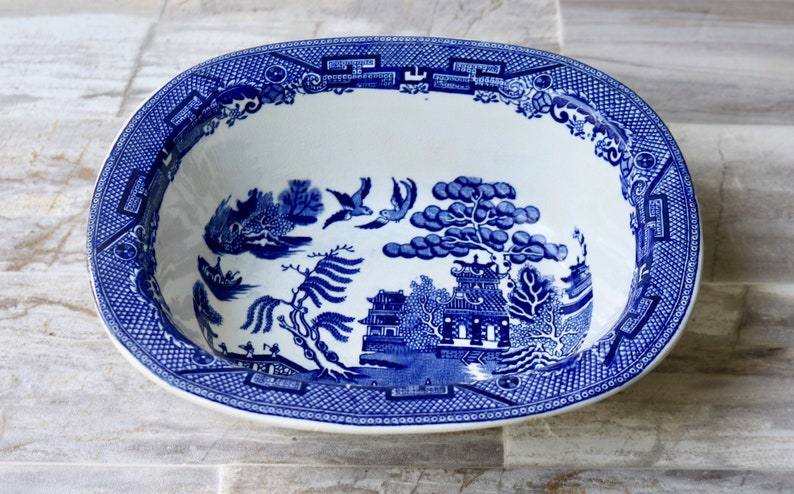 Beautiful Burslem England Porcelain Blue And White Plate-dish,willow Pottery, Porcelain & Glass