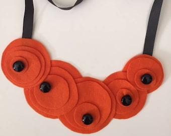 thin orange felt necklace