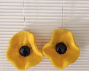 yellow thin felt earrings