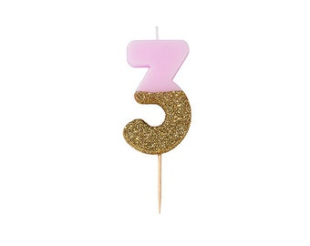Three 3 Candle Gold Pink Dipped Birthday Number Colored Party Cake Candles
